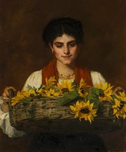 Thérèse Schwartze, Vrouw met zonnebloemen, 1885.